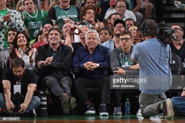 Robert Kraft of the New England Patriots and Wyc Grousbeck of the Boston Celtics attend Game Two of the Eastern Conference Finals against the...