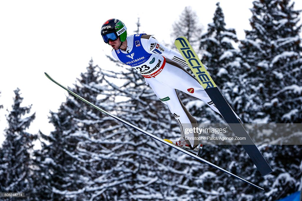 Robert Kranjec of Slovenia competes during the FIS Ski Flying World Championships Men's HS225 on January 16, 2016 in Bad Mitterndorf, Austria