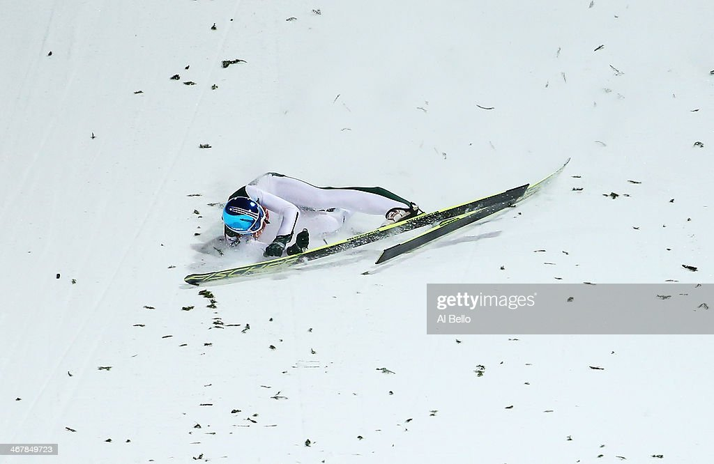Robert Kranjec of Slovenia falls during the Men's Normal Hill Individual Qualification on day 1 of the Sochi 2014 Winter Olympics at the RusSki Gorki Ski Jumping Center on February 8, 2014 in Sochi, Russia.