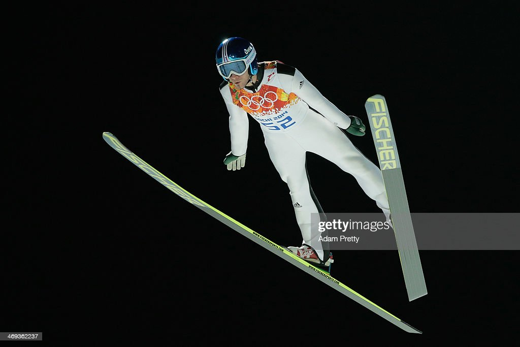 <a gi-track='captionPersonalityLinkClicked' href=/galleries/search?phrase=Robert+Kranjec&family=editorial&specificpeople=722812 ng-click='$event.stopPropagation()'>Robert Kranjec</a> of Slovenia jumps during the Men's Large Hill Individual Qualification on day 7 of the Sochi 2014 Winter Olympics at the RusSki Gorki Ski Jumping Center on February 14, 2014 in Sochi, Russia.
