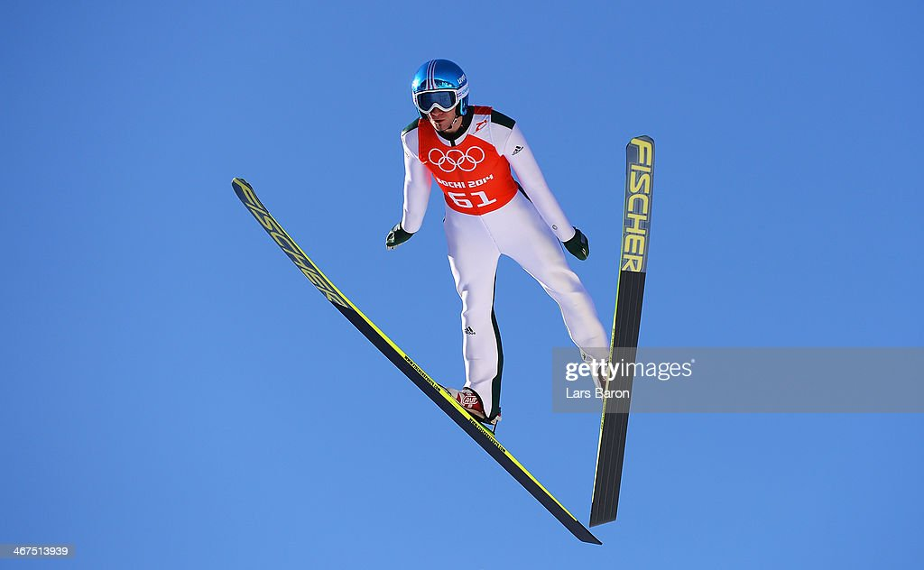 Robert Kranjec of Slovenia jumps during the Men's Normal Hill Individual training ahead of the Sochi 2014 Winter Olympics at the RusSki Gorki Ski Jumping Center on February 7, 2014 in Sochi, Russia.
