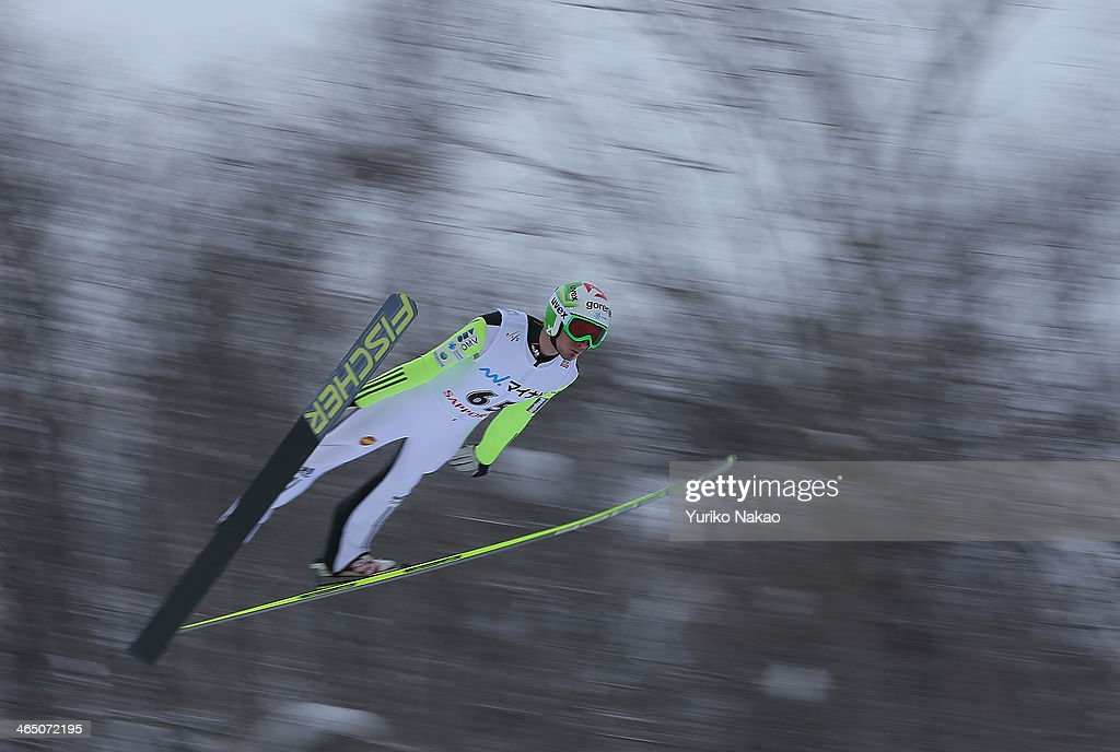 <a gi-track='captionPersonalityLinkClicked' href=/galleries/search?phrase=Robert+Kranjec&family=editorial&specificpeople=722812 ng-click='$event.stopPropagation()'>Robert Kranjec</a> of Slovenia jumps in the first round in the Large Hill Individual during the day two of FIS Men's Ski Jumping World Cup Sapporo at Okurayama Ski Jump Stadium on January 26, 2014 in Sapporo, Japan.
