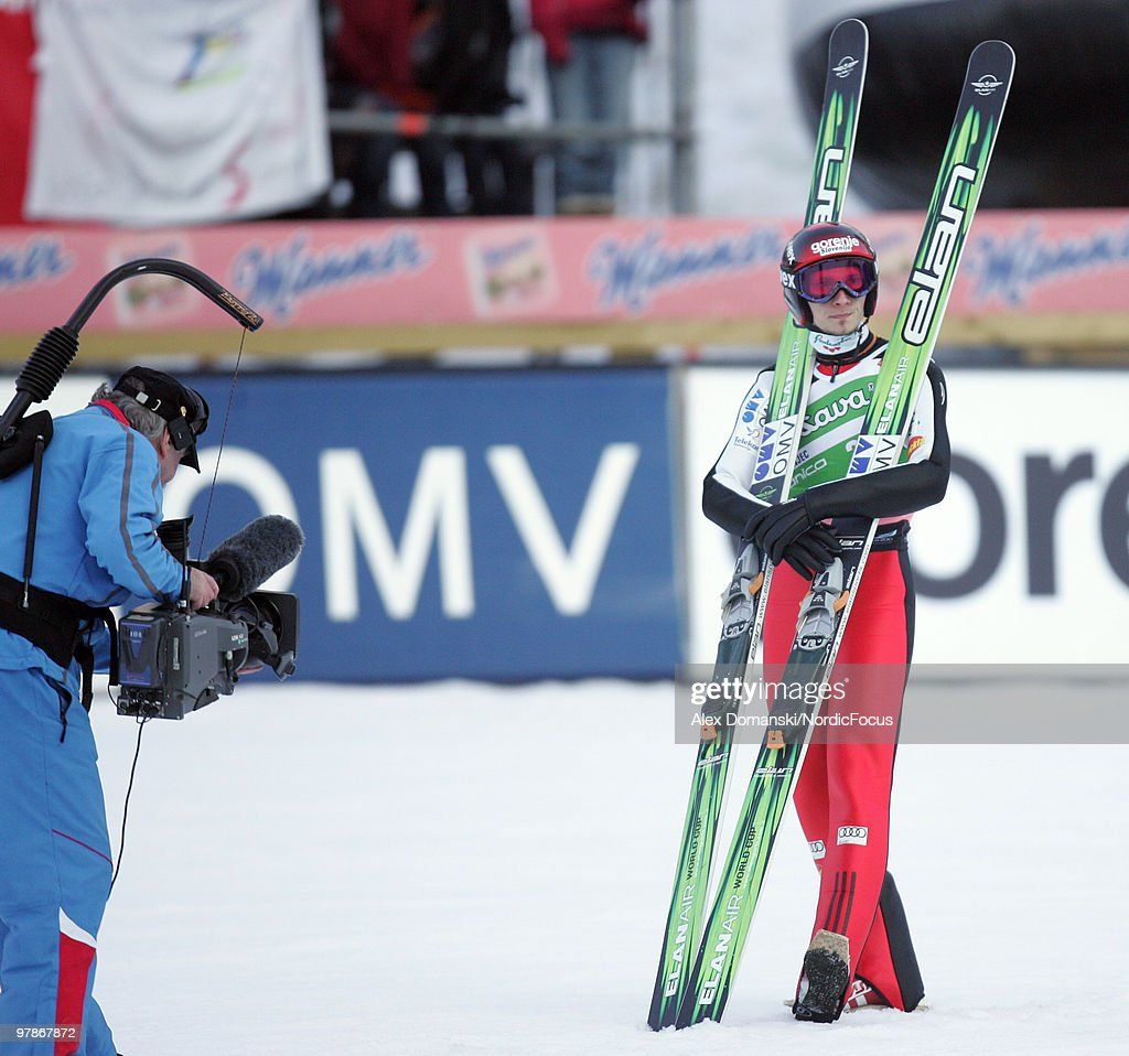 Robert Kranjec of Slovenia reacts after the final jump during the individual event of the Ski jumping World Championships on March 19, 2010 in Planica, Slovenia.