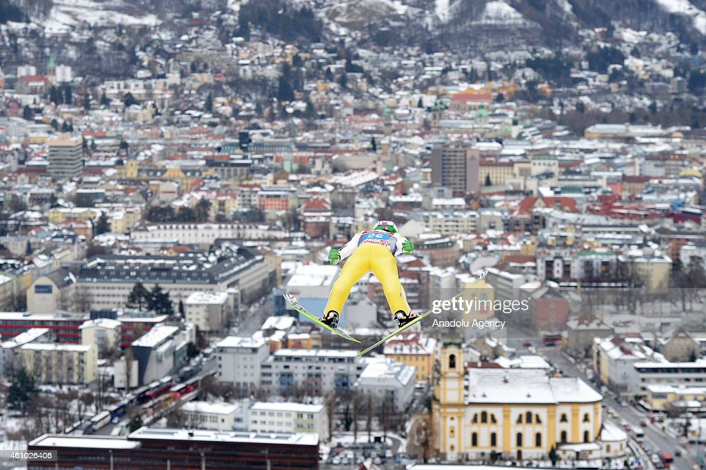 <a gi-track='captionPersonalityLinkClicked' href=/galleries/search?phrase=Robert+Kranjec&family=editorial&specificpeople=722812 ng-click='$event.stopPropagation()'>Robert Kranjec</a> of Slovenia soars through the air during a practice run at the third stage of the four hills ski jumping tournament in Innsbruck, Austria on January 04, 2015. The four hill tournament will finish in Bischofshofen, Austria on January 06, 2015.