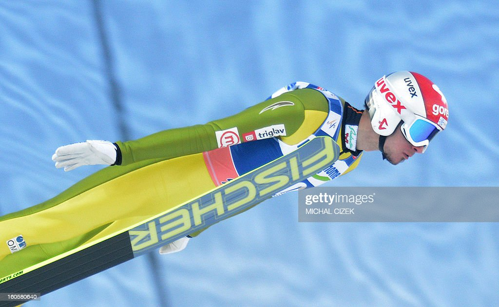 Robert Kranjec of Slovenia soars through the air during the first round of the Ski Flying event of the FIS Ski Jumping World Cup in Harrachov, Czech on February 03, 2013.