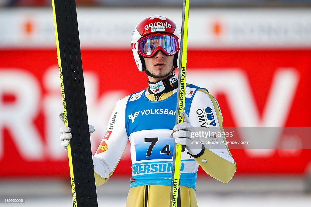 Robert Kranjec of Slovenia takes 3rd place during the FIS Ski Flying World Championships Team HS225 on February 26, 2012 in Vikersund, Norway.