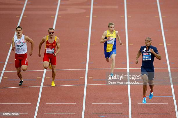 Robert Kubaczyk of Poland Angel David Rodriguez of Spain Patrik Andersson of Sweden and Jimmy Vicaut of France compete in the Men's 100 metres heats...