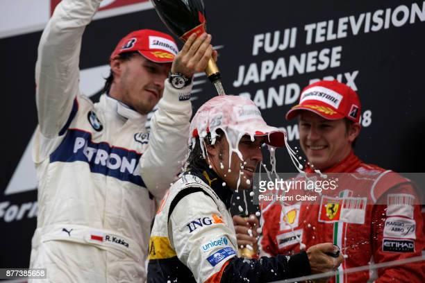 Robert Kubica Fernando Alonso Kimi Raikkonen Grand Prix of Japan Fuji Speedway 12 October 2008