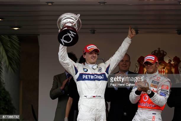 Robert Kubica Lewis Hamilton Grand Prix of Monaco Circuit de Monaco 25 May 2008 Robert Kubica celebrating his second place in the 2008 Monaco Grand...