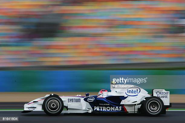 Robert Kubica of Poland and BMW Sauber drives during practice for the French Formula One Grand Prix at the Circuit de Nevers MagnyCours on June 20...