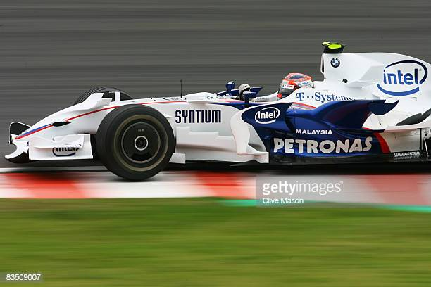 Robert Kubica of Poland and BMW Sauber drives during practice for the Brazilian Formula One Grand Prix at the Interlagos Circuit on October 31 2008...