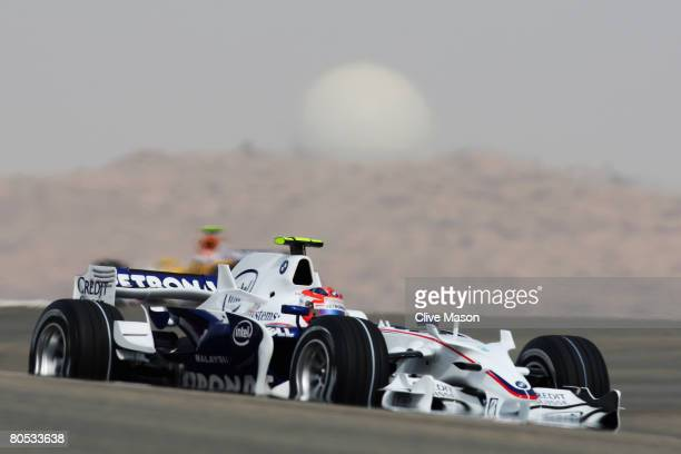 Robert Kubica of Poland and BMW Sauber in action on his way to taking pole position during qualifying for the Bahrain Formula One Grand Prix at the...