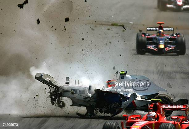 Robert Kubica of Poland and BMWSauber crashes during the Canadian Formula One Grand Prix at the Circuit Gilles Villeneuve on June 10 2007 in Montreal...