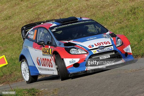 Robert Kubica of Poland and Maciej Szczepaniak of Poland compete in their RK MSport WRT Ford Fiesta RS WRC during the Shakedown of the WRC Germany on...
