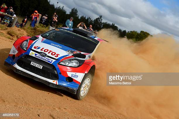 Robert Kubica of Poland and Maciej Szczepaniak of Poland compete in their RK MSport WRT Ford Fiesta RS WRC during Day Two of the WRC Australia on...