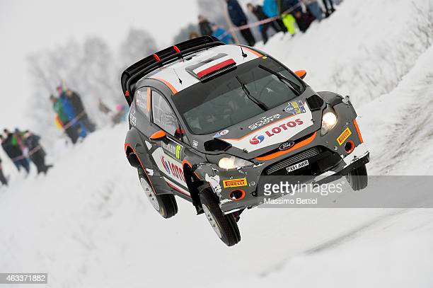 Robert Kubica of Poland and Maciej Szczepaniak of Poland compete in their RK WRT Ford Fiesta RS WRC during Day One of the WRC Sweden on February 13...
