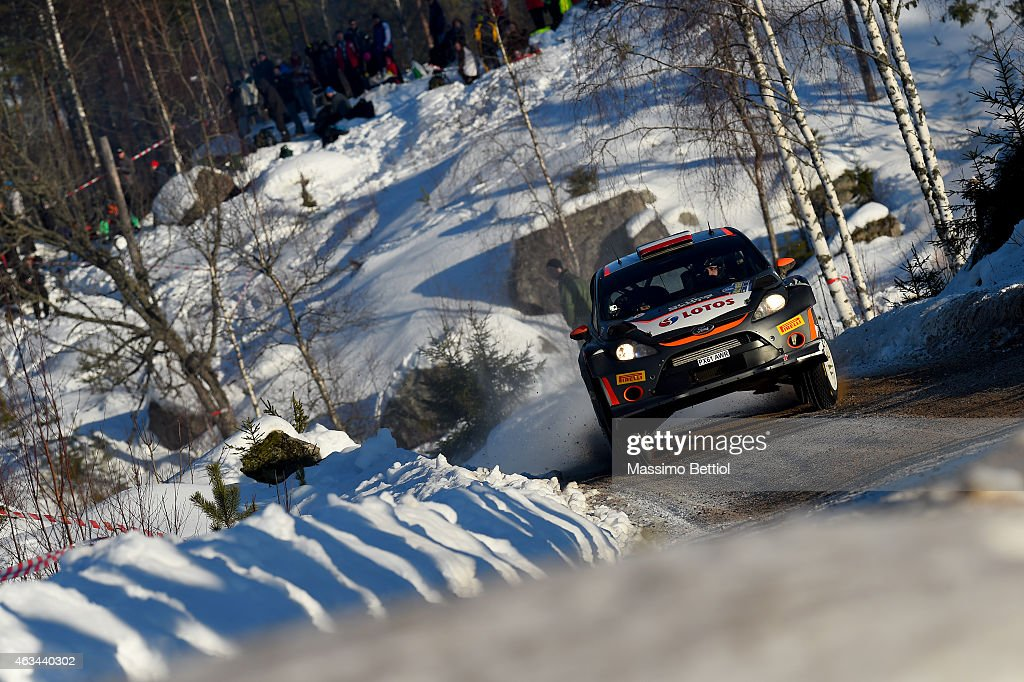 Robert Kubica of Poland and Maciej Szczepaniak of Poland compete in their RK WRT Ford Fiesta RS WRC during Day Two of the WRC Sweden on February 14...