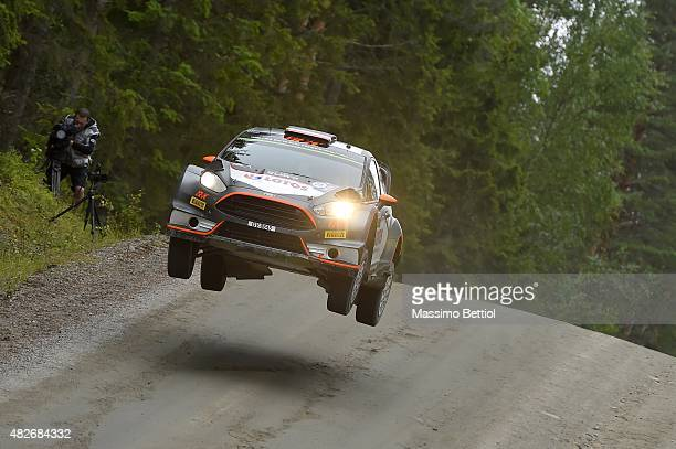 Robert Kubica of Poland and Maciej Szczepaniak of Poland compete in their RK WRT Ford Fiesta RS WRC during Day Two of the WRC Finland on August 1...