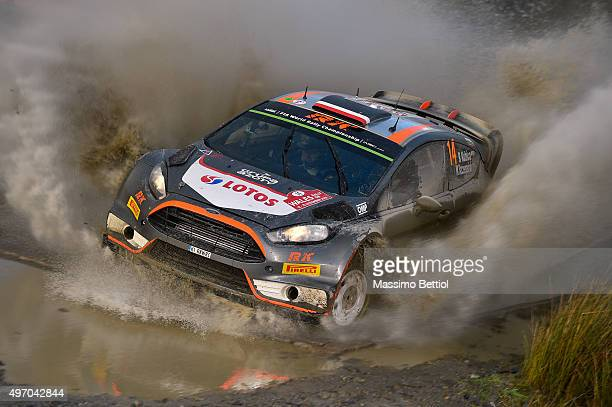 Robert Kubica of Poland and Maciej Szczepaniak of Poland compete in their RK WRT Ford Fiesta RS WRC during Day One of the WRC Wales Rally GB on...