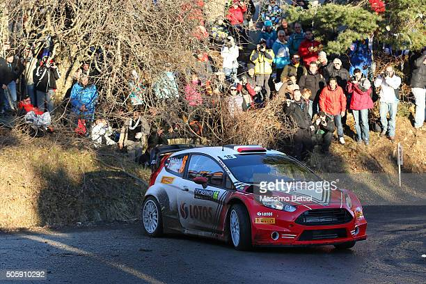 Robert Kubica of Poland and Maciej Szczepaniak of Poland compete in their Ford Fiesta RS WRC during the Shakedown of the WRC Monte Carlo on January...