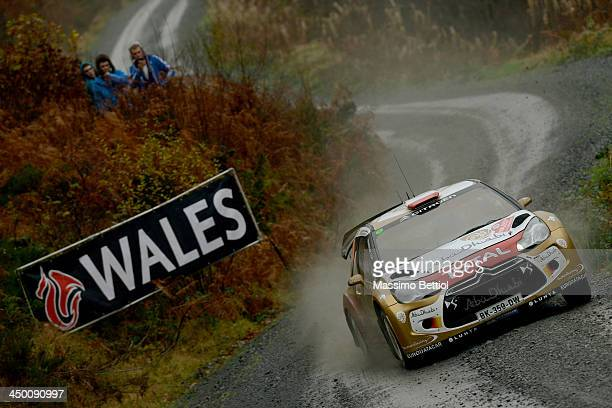 Robert Kubica of Poland and Michele Ferrara of Italy compete in their Abu Dhabi Citroen Total WRT Citroen DS3 WRC during Day Three of the WRC Wales...