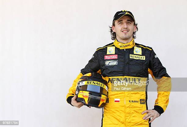 Robert Kubica of Poland and Renault attends the drivers official portrait session during previews to the Bahrain Formula One Grand Prix at the...