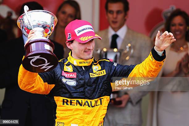 Robert Kubica of Poland and Renault celebrates finishing third during the Monaco Formula One Grand Prix at the Monte Carlo Circuit on May 16 2010 in...