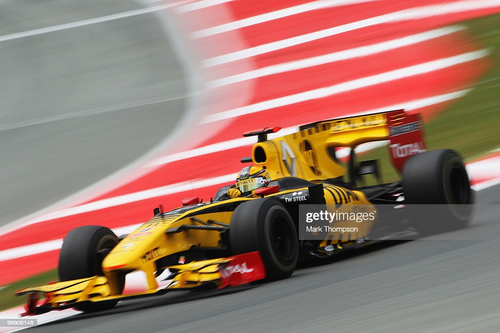 Robert Kubica of Poland and Renault drives during practice for the Spanish Formula One Grand Prix at the Circuit de Catalunya on May 7, 2010 in Barcelona, Spain.