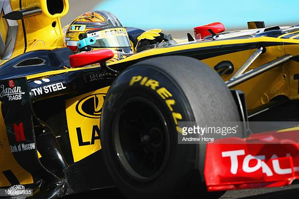 Robert Kubica of Poland and Renault F1 Team in action during the Formula 1 Pirelli Tyre Testing at the Yas Marina Circuit on November 19 2010 in Abu...