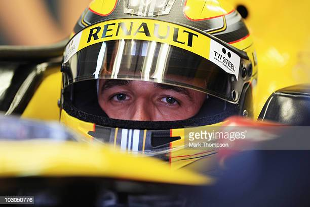 Robert Kubica of Poland and Renault prepares to drive during practice for the German Grand Prix at Hockenheimring on July 23 2010 in Hockenheim...