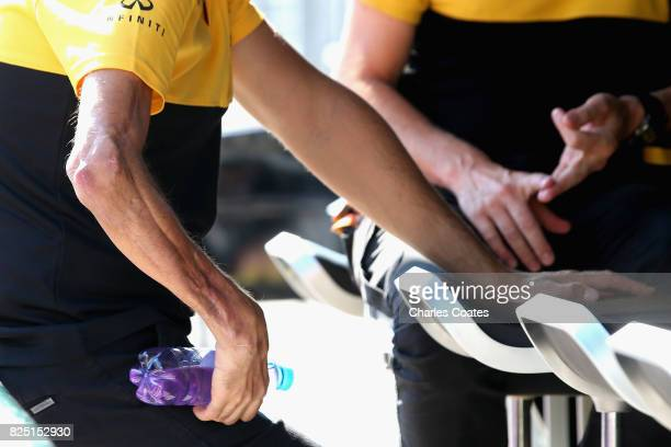 Robert Kubica of Poland and Renault Sport F1 looks on from the pit wall during day one of F1 inseason testing at Hungaroring on August 1 2017 in...