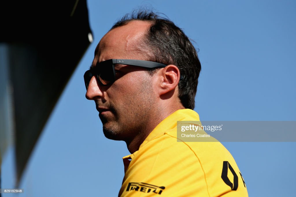Robert Kubica of Poland and Renault Sport F1 looks on from the pit wall during day one of F1 in-season testing at Hungaroring on August 1, 2017 in Budapest, Hungary.