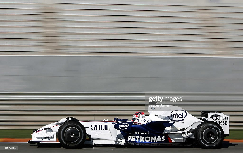 Robert Kubica of Poland and team BMW Sauber steers his car during Formula one testing at the Ricardo Tormo racetrack on January 23, 2008, in Cheste near Valencia, Spain.