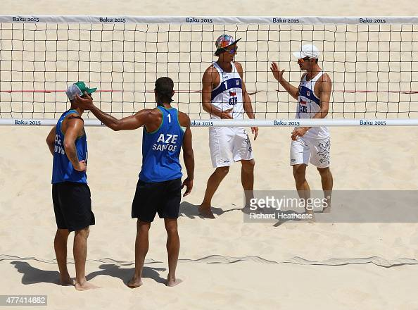 Robert Kufa and Jan Dumek of the Czech Republic celebrate victory over Iaroslav Rudykh and Neilton Santos of Azerbaijan during the Beach Volleyball...