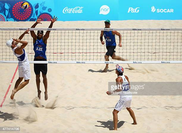 Robert Kufa and Jan Dumek of the Czech Republic in action agaisnt Iaroslav Rudykh and Neilton Santos of Azerbaijan during the Beach Volleyball Group...