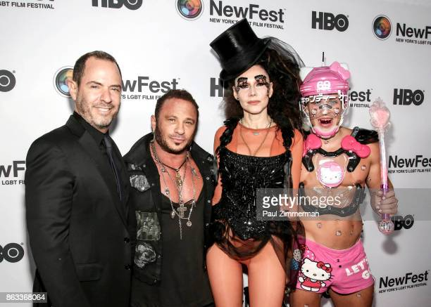 Robert Kushner David Barton Susanne Bartsch and Candy Ken attend NewFest 2017 Opening Night Susanne Bartsch On Top at SVA Theater on October 19 2017...