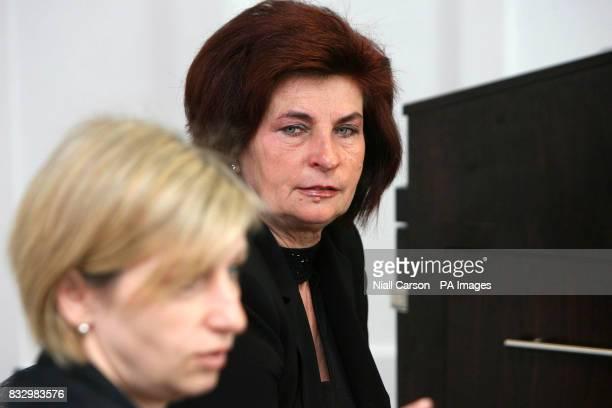 Robert Kwiatkowski's sister Renata Gedzior and his mother Kazimiera Kwiatkowska speaking at a press conference at the Crown Plaza Hotel in Dublin