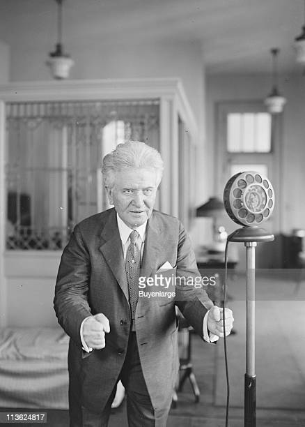 Robert La Follette American progressive politician speaks into a microphone during his first radio campaign address September 1926