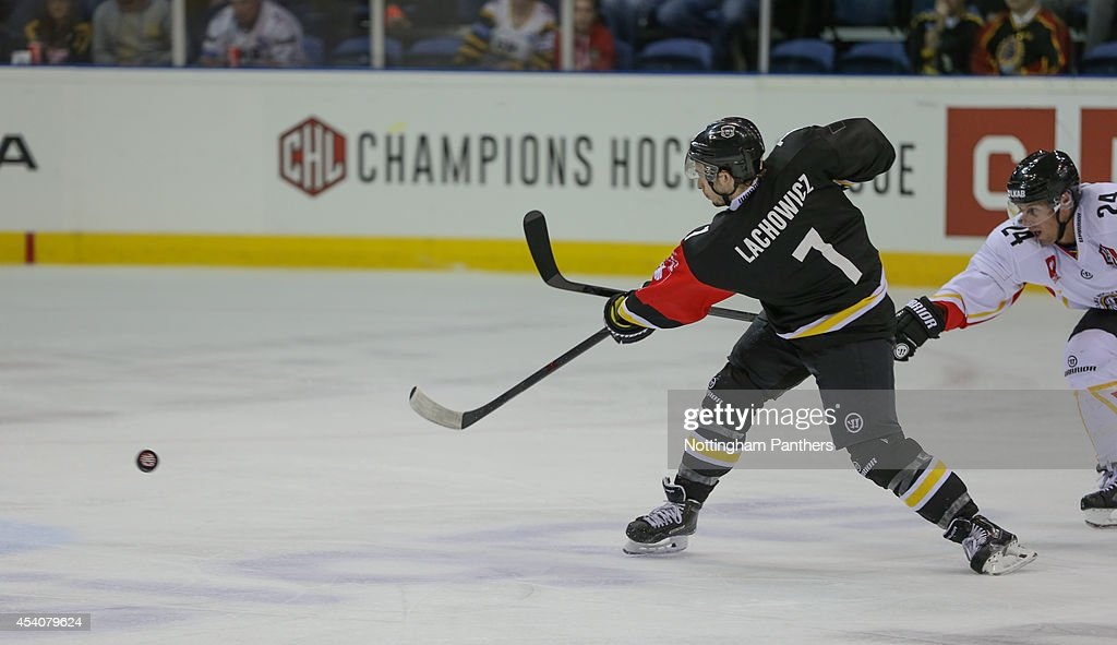 Robert Lachowicz #7 of Nottingham Panthers shoots during the Champions Hockey League group stage game between Nottingham Panthers and Lulea Hockeyat at the National Ice Centre on August 24, 2014 in Nottingham, England.