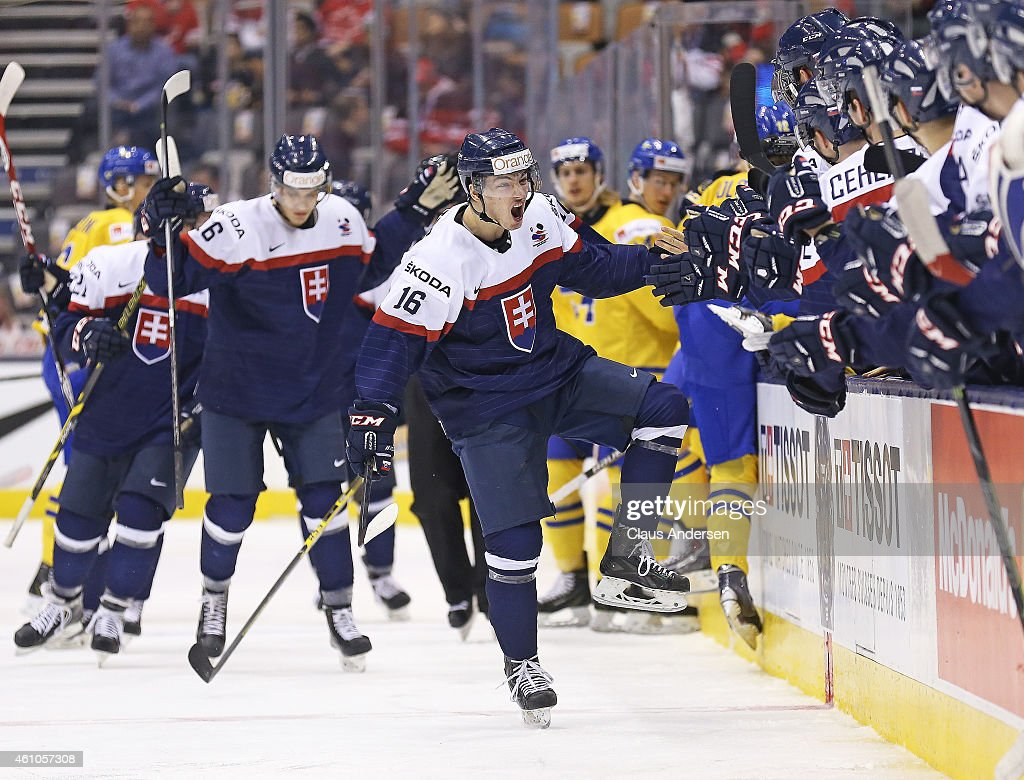 Robert Lantosi of Team Slovakia celebrates a goal against Team Sweden during the bronze medal game in the 2015 IIHF World Junior Hockey Championship...