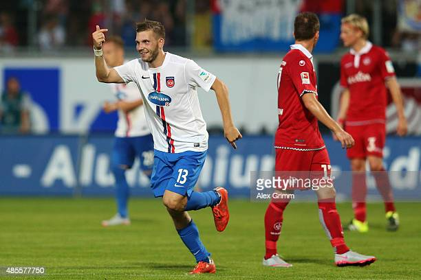 Robert Leipertz of Heidenheim celebrates his team's fourth goal during the Second Bundesliga match between 1 FC Heidenheim and 1 FC Kaiserslautern at...