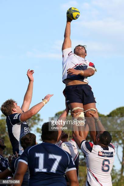 Robert Leota of Melbourne Rising takes the line out during the round five NRC match between Queensland Country and Melbourne at Bond University on...