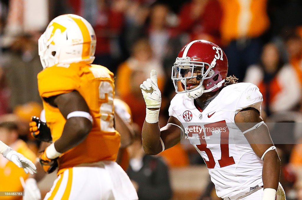 Robert Lester #37 of the Alabama Crimson Tide reacts after intercepting a touchdown reception intended for Alton Howard #2 of the Tennessee Volunteers at Neyland Stadium on October 20, 2012 in Knoxville, Tennessee.