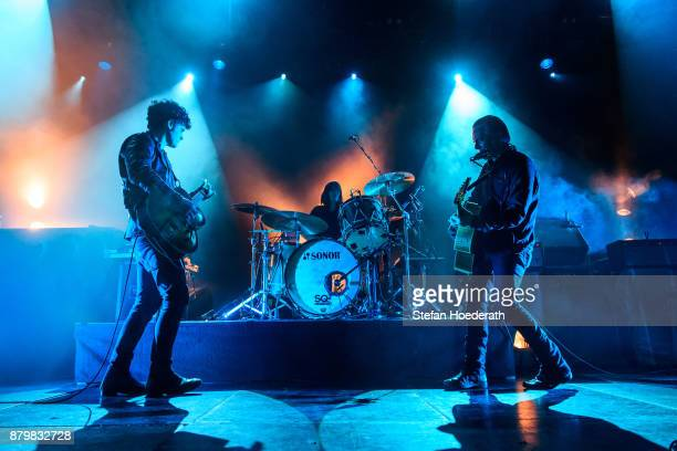 Robert Levon Been Leah Shapiro and Peter Hayes of Black Rebel Motorcycle Club perform live on stage during a concert at Columbiahalle on November 25...