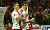 Robert Lewandowski after his second goal during the UEFA Euro 2016 Qualifying Round match between Poland and Ireland at the National Stadium on...