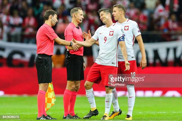 Robert Lewandowski and Jan Bednarek of the Polish national football team after the FIFA World Cup 2018 qualification match between Poland and...