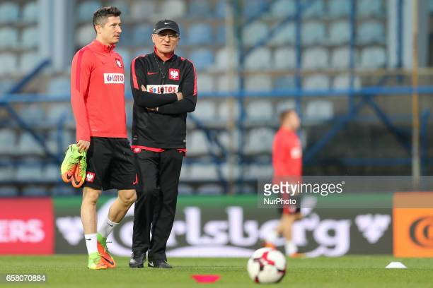 Robert Lewandowski and Poland's coach Adam Nawalka during a training before Montenegro Poland match football in Podgorica Montenegro on March 25 2017
