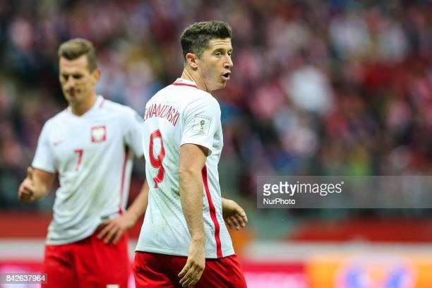 Robert Lewandowski Arkadiusz Milik during the FIFA World Cup 2018 qualification match between Poland and Kazakhstan in Warsaw on September 4 2017