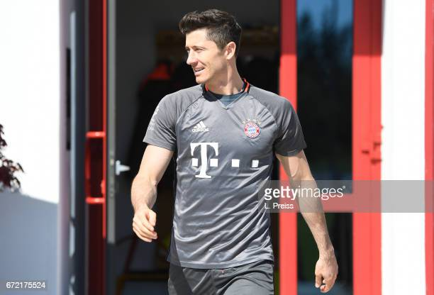 Robert Lewandowski arrives for a training session of FC Bayern Muenchen on April 24 2017 in Munich Germany