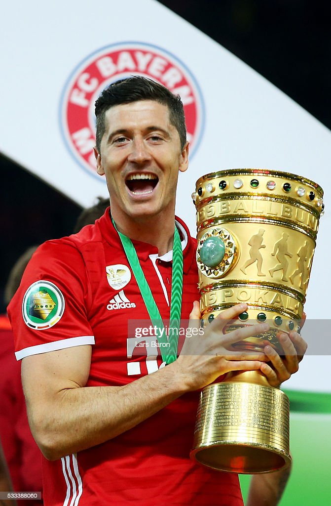 Robert Lewandowski celebrates after the DFB Cup Final 2016 between Bayern Muenchen and Borussia Dortmund at Olympia